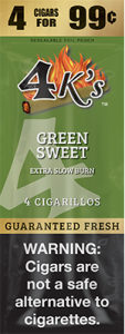 4ks Blended Tobacco Cigarillos Green Sweet Flavored