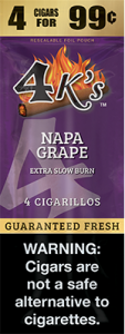 4ks Blended Tobacco Cigarillos Napa Grape Flavored