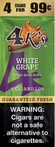 4ks Blended Tobacco Cigarillos White Grape Flavored