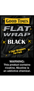 Good Times Flat Wrap Black 2 Cigar Wrappers Pack