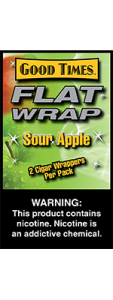 Good Times Flat Wrap Sour Apple 2 Cigar Wrappers Pack